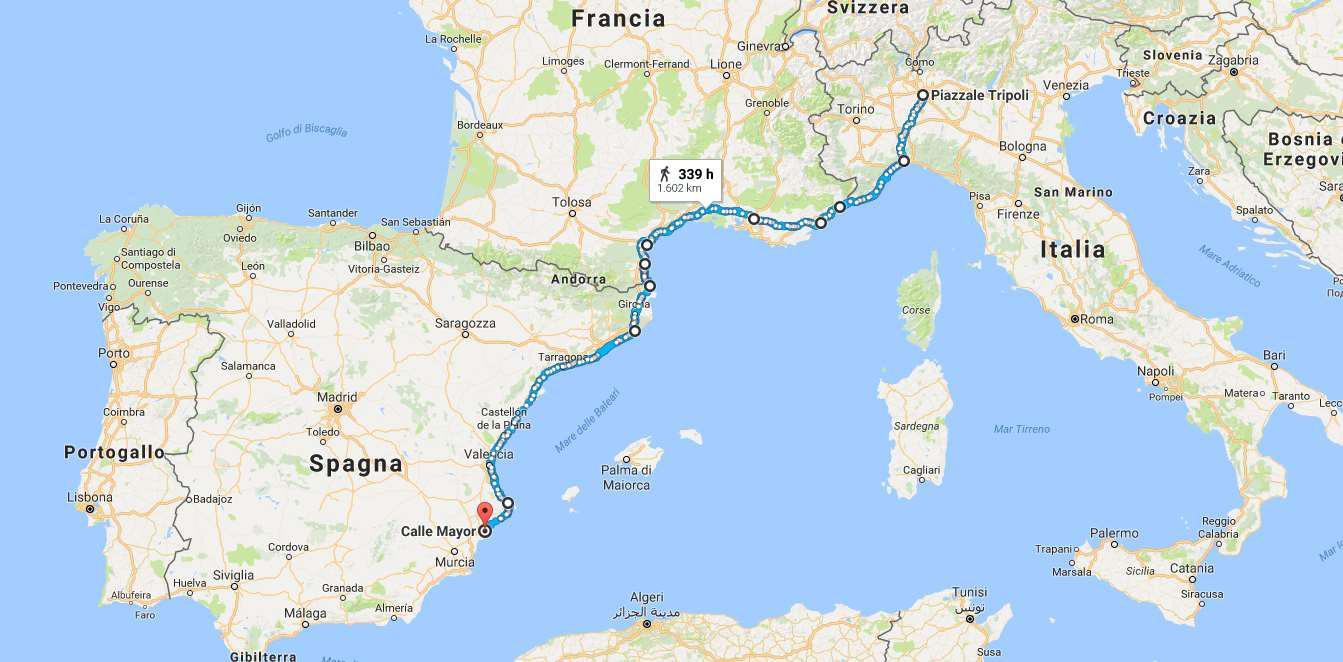 Cartina Italia Con Distanze Km.In Bici Dall Italia Alla Spagna La Mia Esperienza E I Consigli Pratici Sul Percorso Foto Rivoluzione Romantica